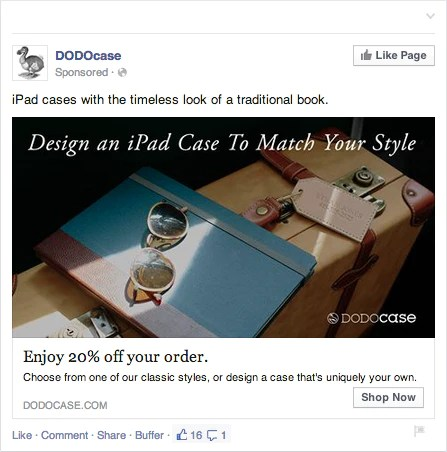 Facebook re-targeting cupom.