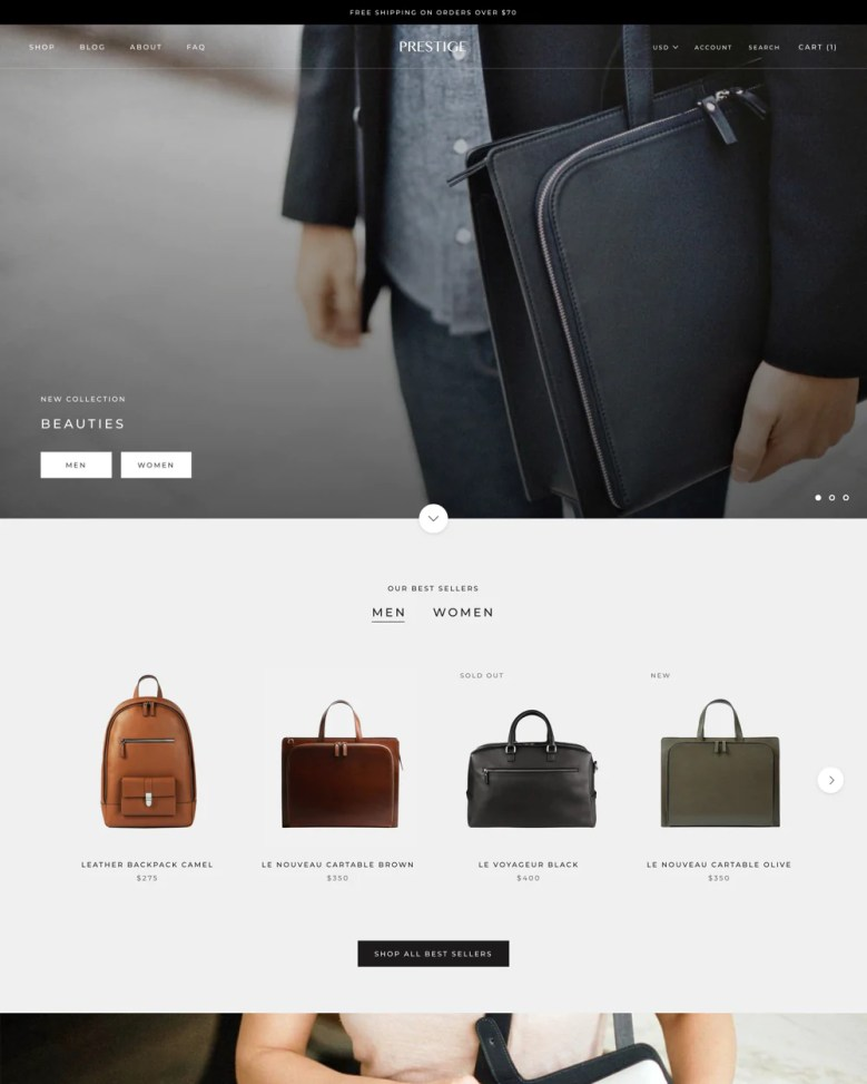 Prestige Shopify theme.