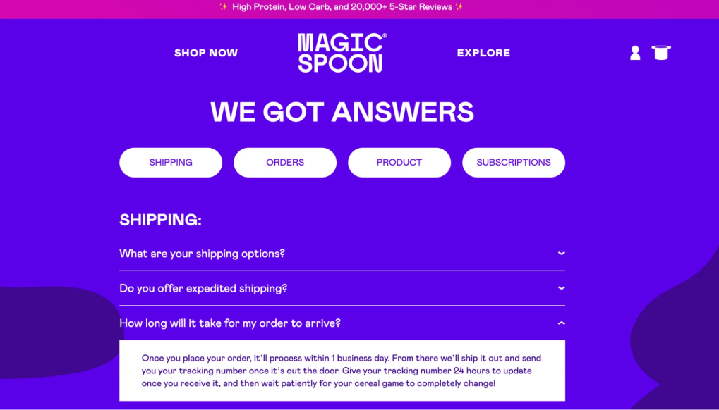 Clever copywriting that appears on Magic Spoon's FAQ page.