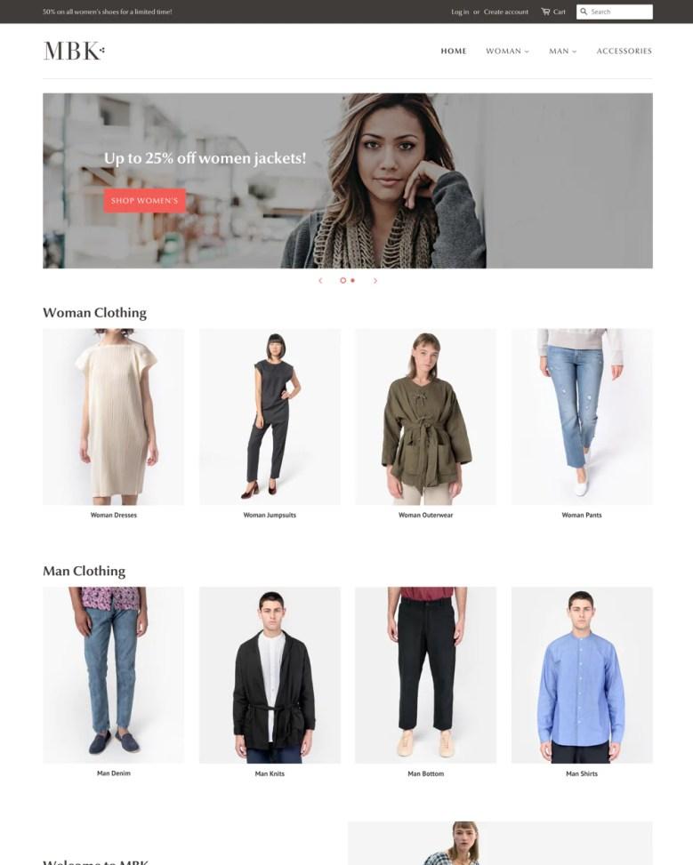 Minimal Shopify theme.