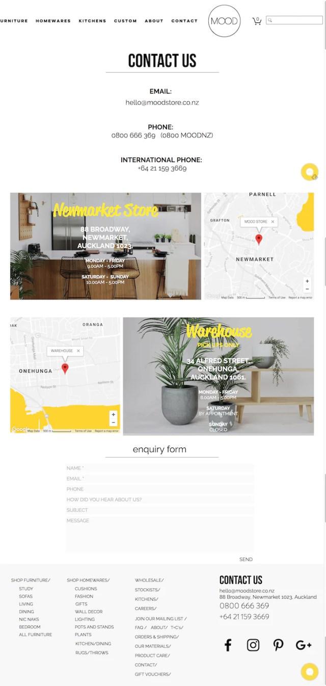 Shopify電商品牌The Mood Store的聯絡頁面包含必要聯絡方式。