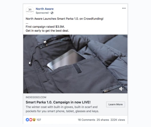 Demonstrating a product through Facebook ads.