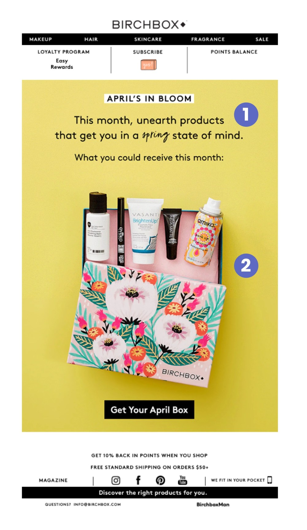 An ecommerce email marketing example from Birchbox