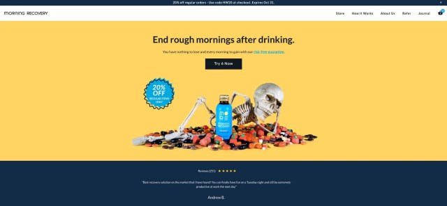 morning recovery homepage above the fold
