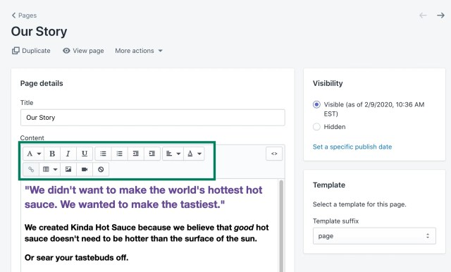 about page example shopify
