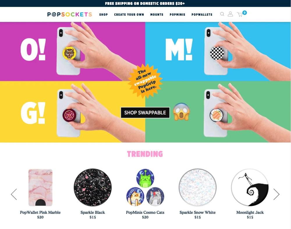 popsockets homepage design