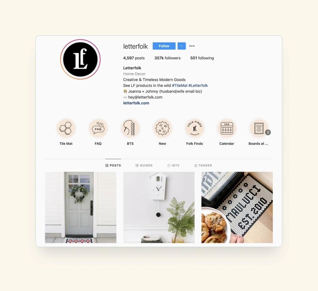 letterfolk social commerce on Instagram