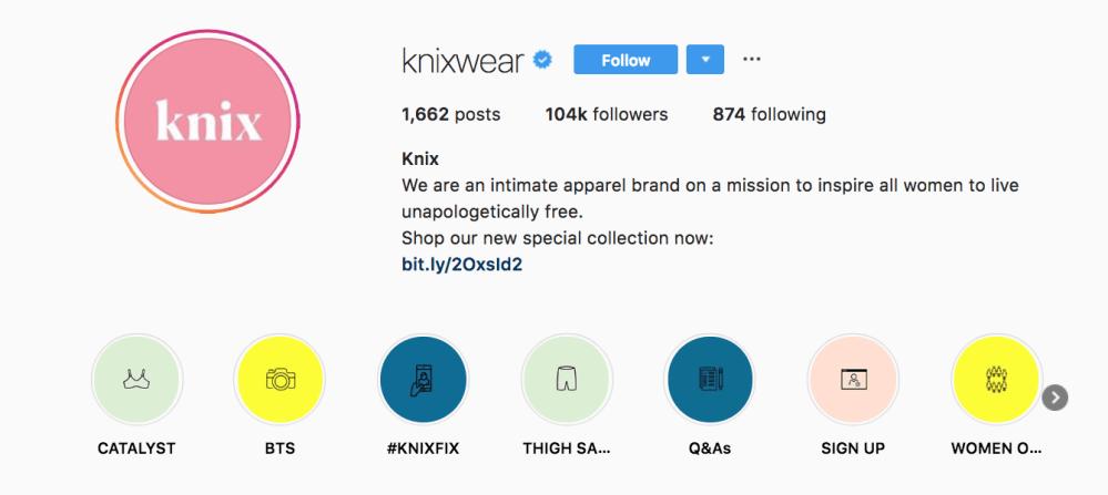 knixwear instagram bio