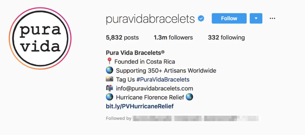 pura vida bracelet instagram bio