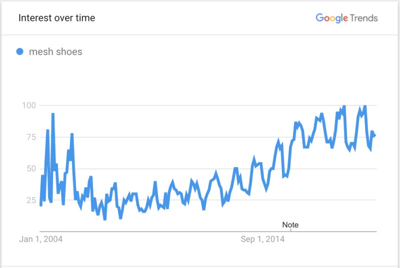 Image showing Google Trends data for mesh shoes