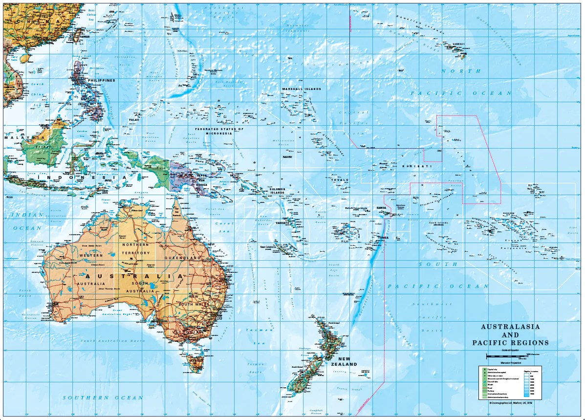 South Pacific Islands Australia New Zealand Map