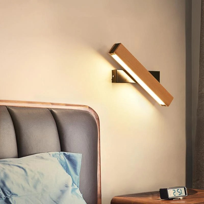 Wooden Led Adjustable Wall Lamp Beveld