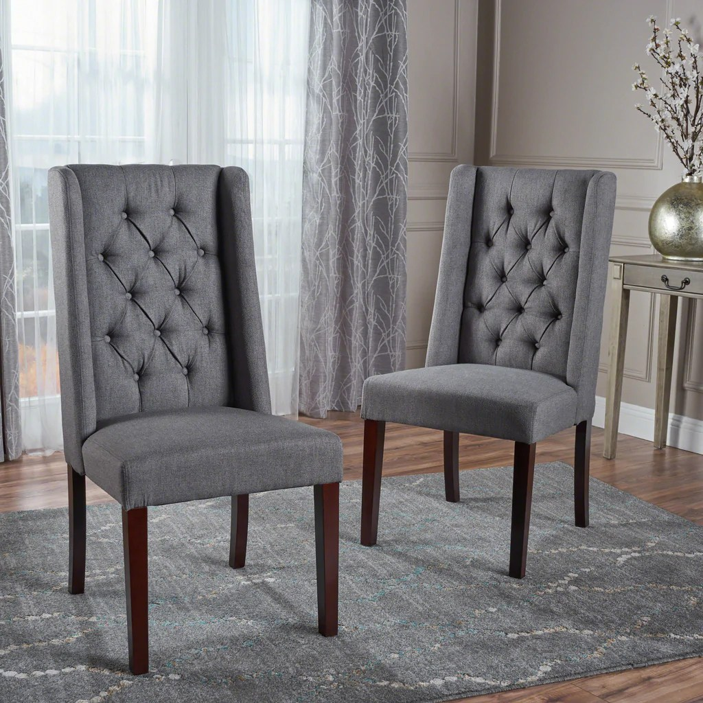 Billings Tufted Fabric High Back Dining Chairs Set Of 2