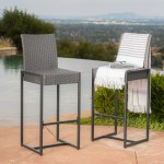 Conrad Outdoor Transitional 30 Inch Gray Wicker Barstools With Metal F Gdfstudio