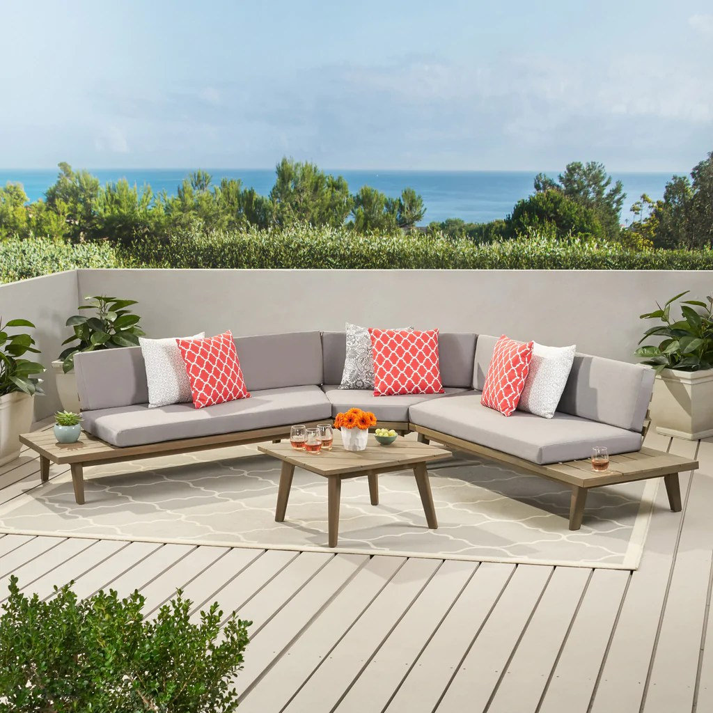 hillside mid century modern outdoor wood platform sectional with built in end tables coffee table