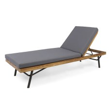 Lilith Outdoor Acacia and Eucalyptus Chaise Lounge, Teak Finish and Dark Gray