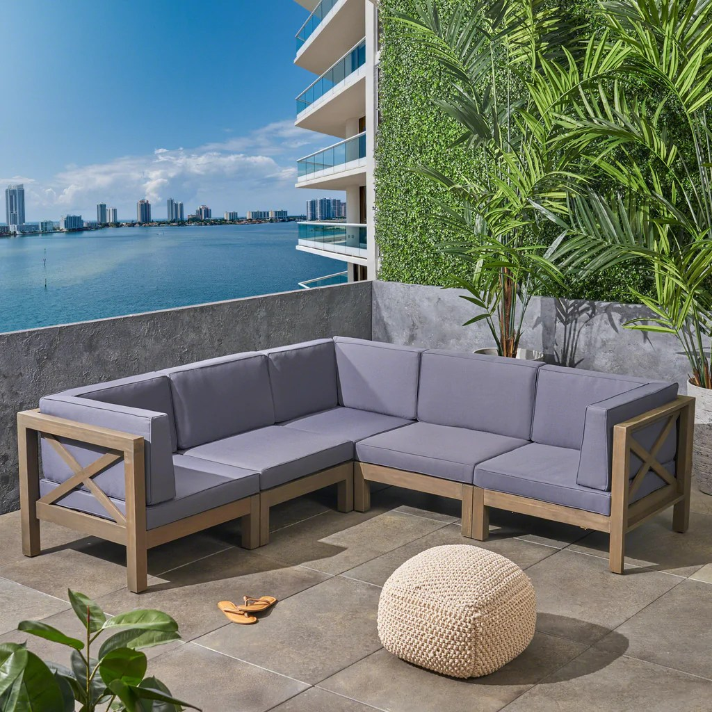 Keith Outdoor Sectional Sofa Set 5-Piece 5-Seater Acacia ... on 5 Piece Sectional Patio Set id=58897