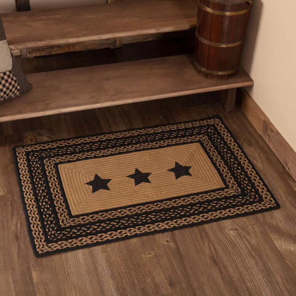 farmhouse jute braided rugs rectangular stencil stars country black dark tan