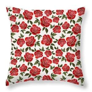 rose watercolor pattern throw pillow