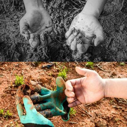 Puutarhatöistä likaantuneet kädet