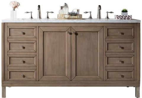 60 chicago double sink bathroom vanity whitewashed walnut