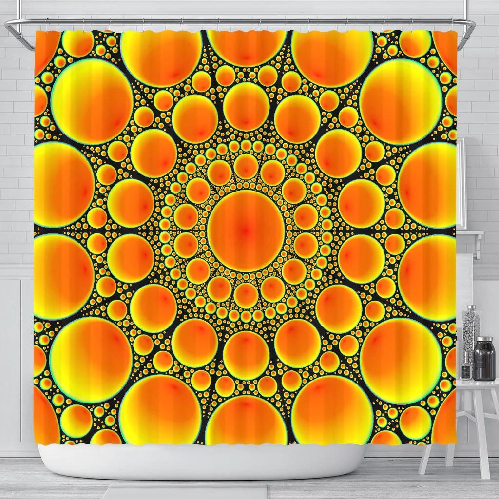 neon orange sun shower curtain this is it original