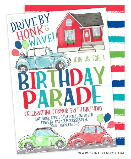 birthday parade invitation