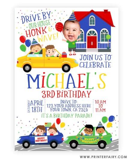 drive thru birthday parade invitation with photo
