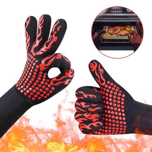 1pcs bakewere Oven Mitts Gloves BBQ Silicon gloves High Temperature Anti-scalding 500/800 Degree Insulation Barbecue Microwave