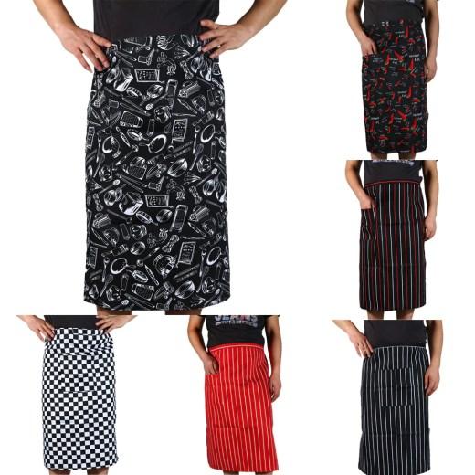 1pc Chef Apron for Kitchen Waiter Men Women Cooking Apron Plaid Stripe Half Apron with 1 Pockets