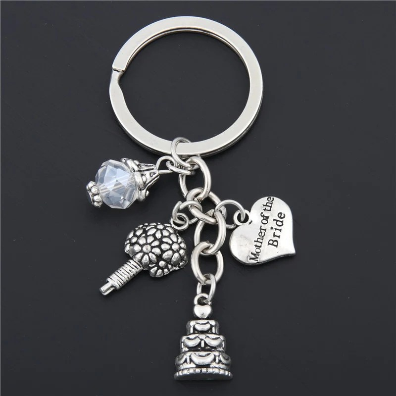 1pc Mother Of The Bride Key Chain Flower Cake KeyChain With Bead Women Men Married Jewelry Wedding Gifts E1670