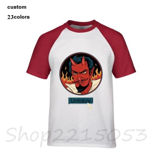 2019 streetwear Unfollow the Devil satan social media cool funny evil demon hell Men's game t shirts league male tshirt t-shirt