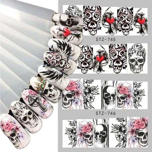 1pcs Halloween Designs Water Decals Skull Tattoos Sliders For Manicure Water Transfer Sticker Wraps Tips Decoration BESTZ731-760