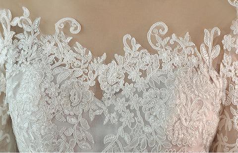 Lace Three Quarter Sleeve O-Neck Elegant Wedding Dresses