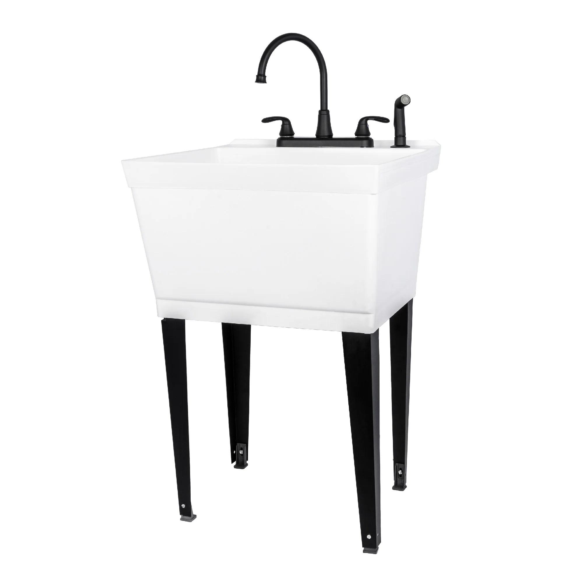 tehila utility sink with black faucet side sprayer 19 gallon white
