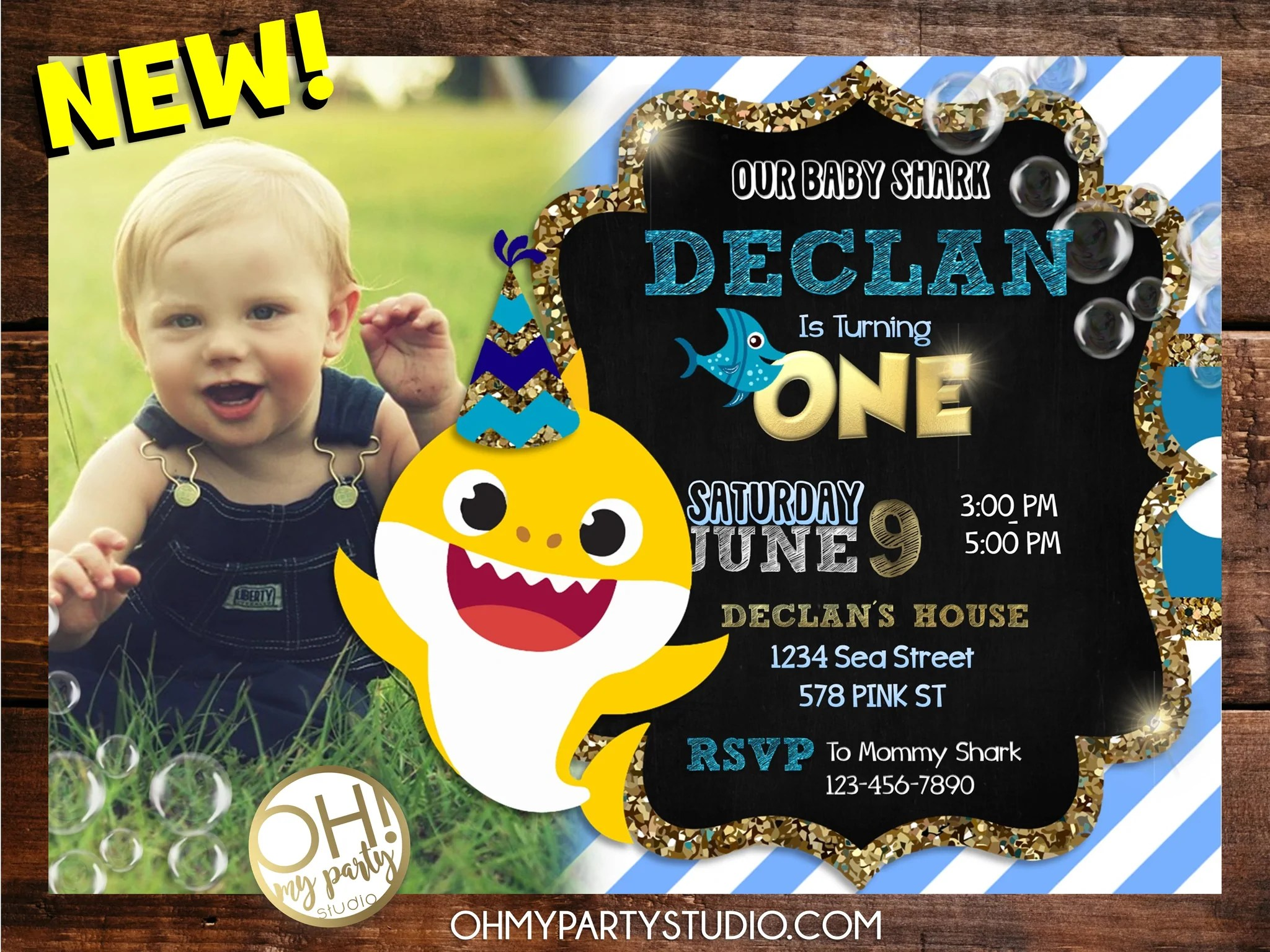 baby shark birthday party invitation with photo