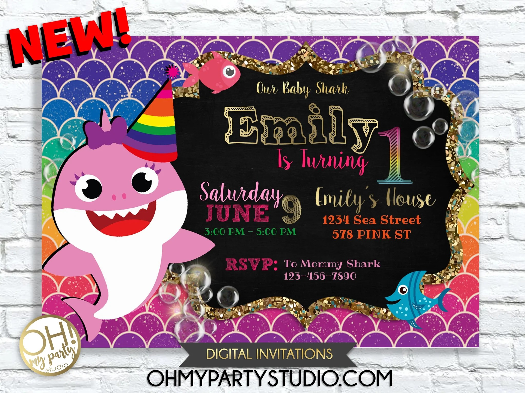 baby shark birthday party invitation