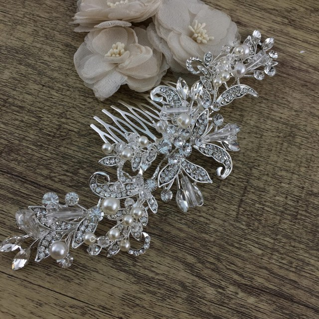 silver crystal and pearl flexible hair comb, bridal hair piece
