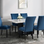 Francesca 5 Piece Dining Set With Blue Chairs Kane S Furniture