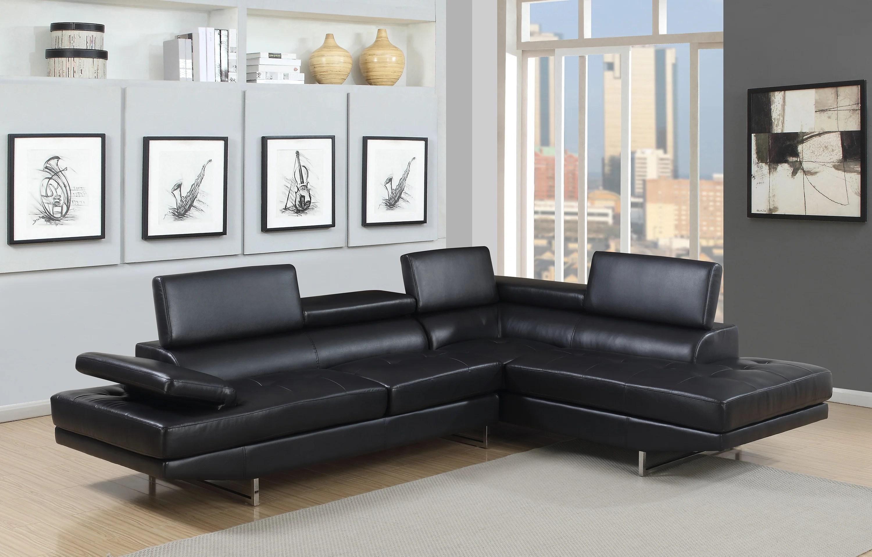 giovanni black 2 piece sectional sofa