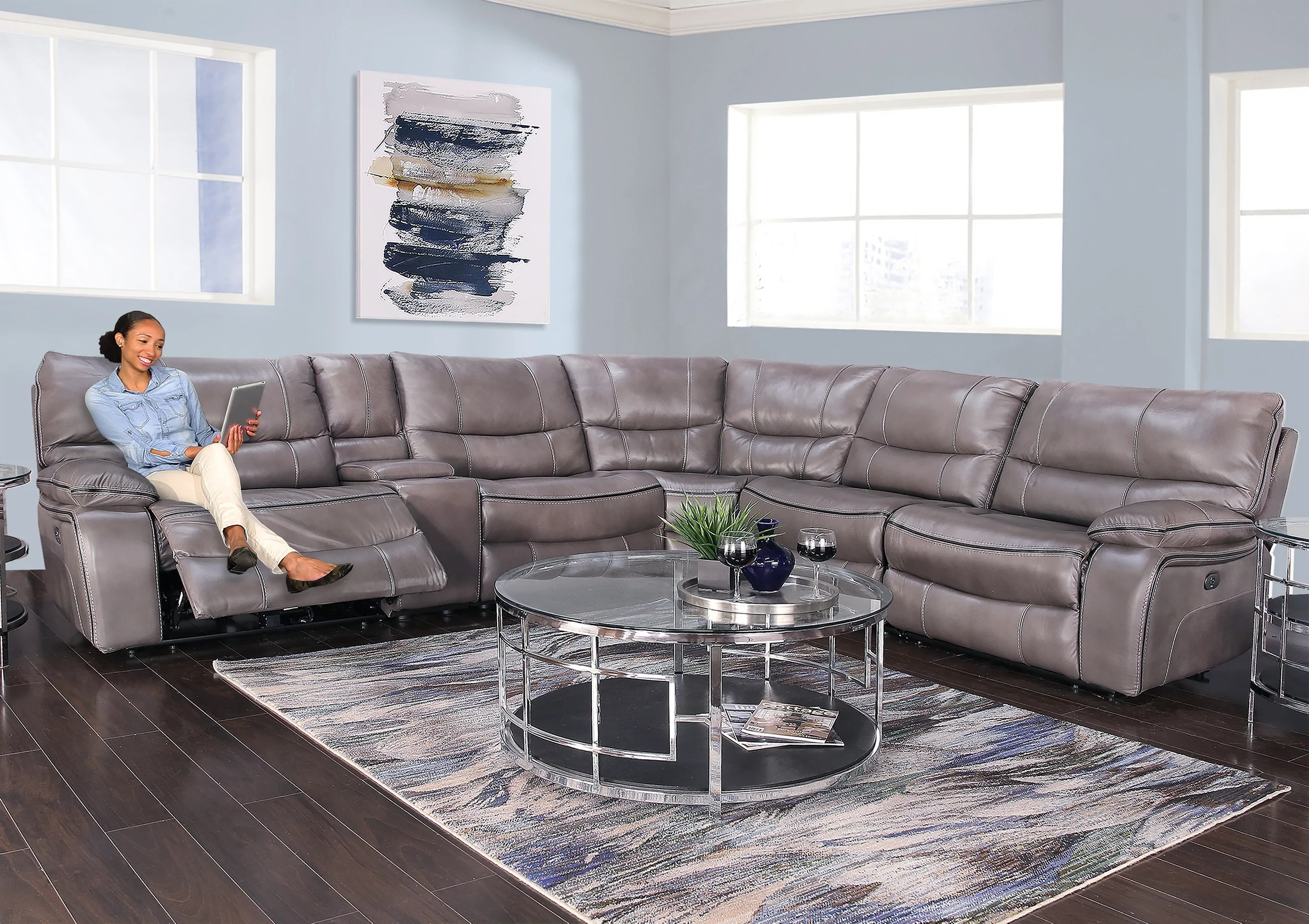 nappa charcoal 6 piece leather dual power reclining sectional sofa