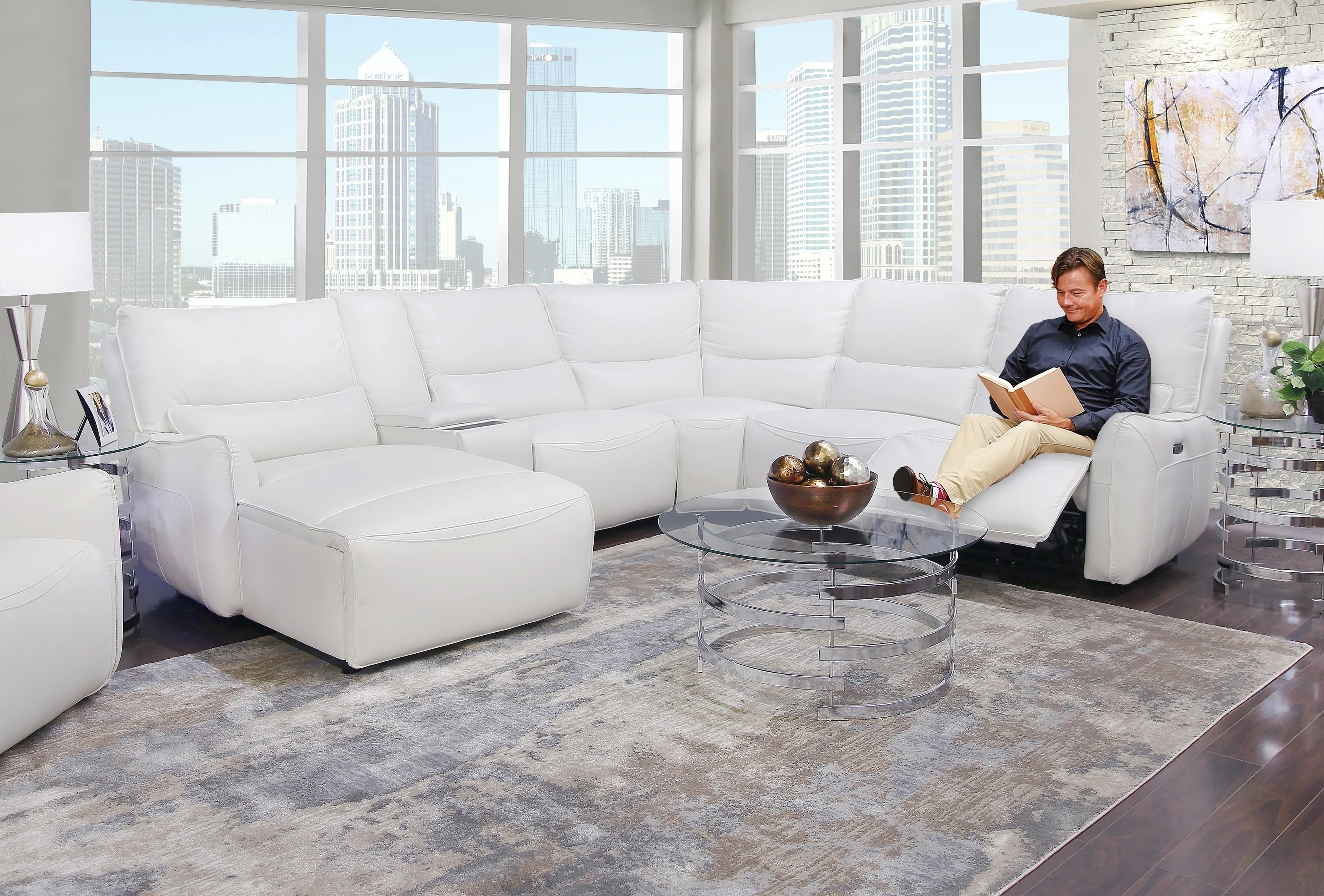 senna white 6 piece leather dual power reclining sectional sofa