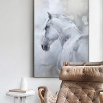 White Horse Painting Large Horse Canvas Wall Art Large Horse Canvas Art Artexplore
