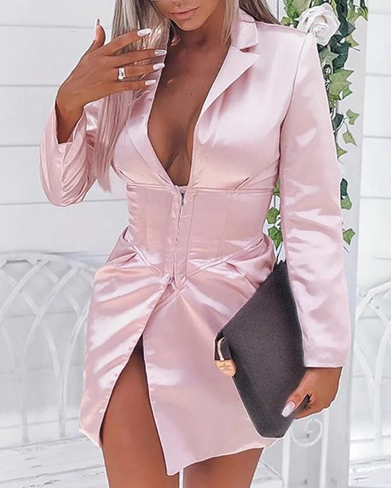 Solid Notched Collar Slit Shirt Dress