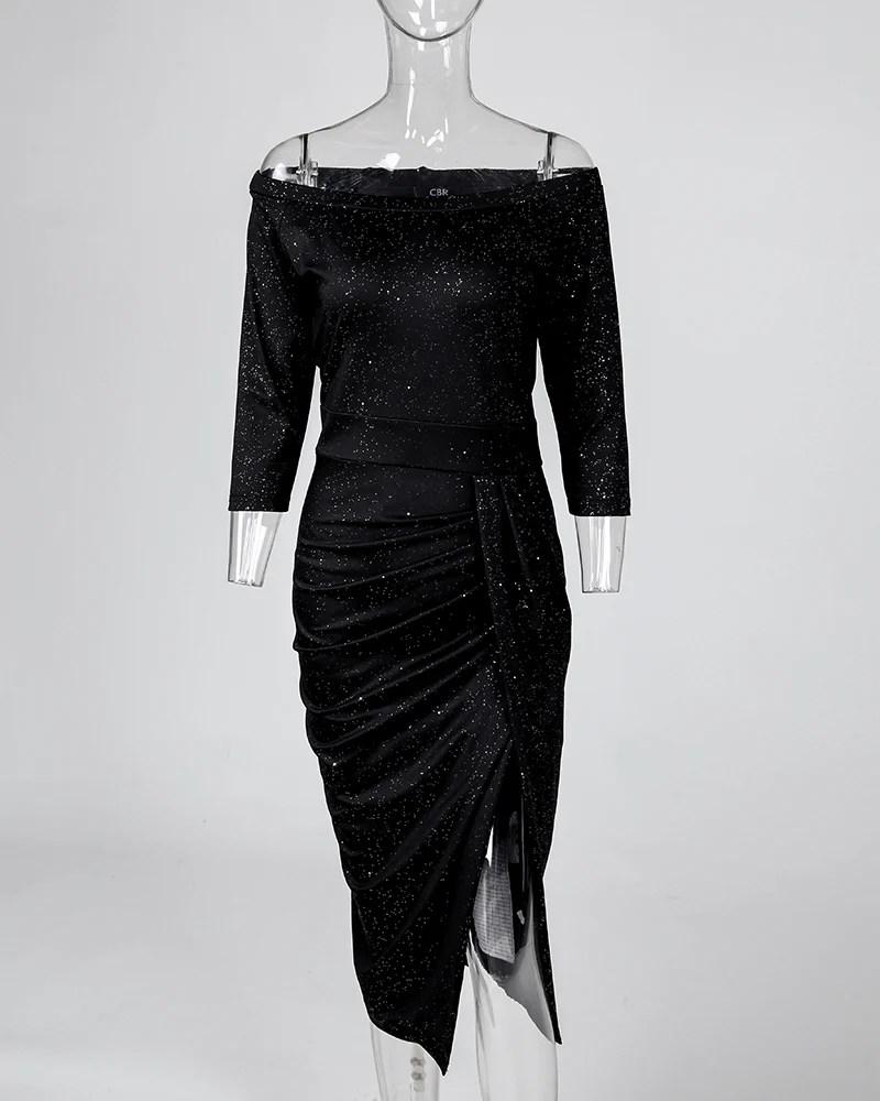 Glitter Slit Off Shoulder Party Dress