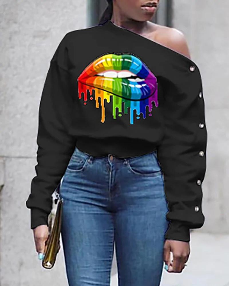 Skew Neck Mouth Print  Long Sleeve Buttoned Sweatshirt
