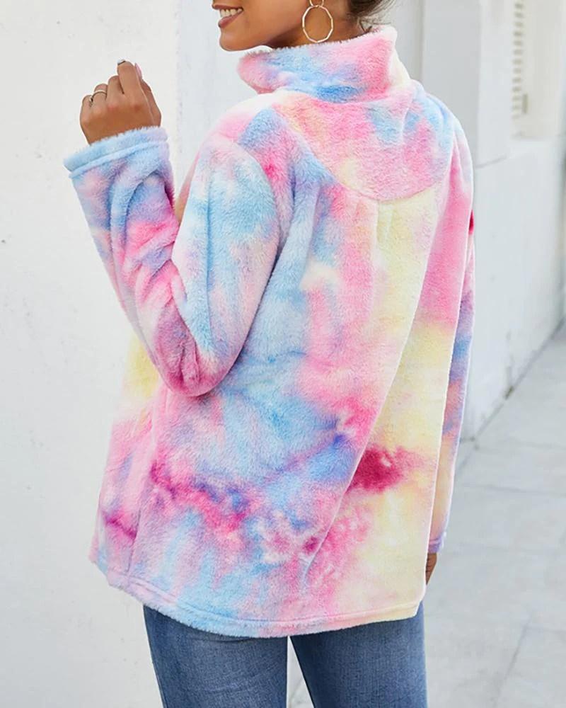 Tie Dye Zipper Fluffy Casual Sweatshirt