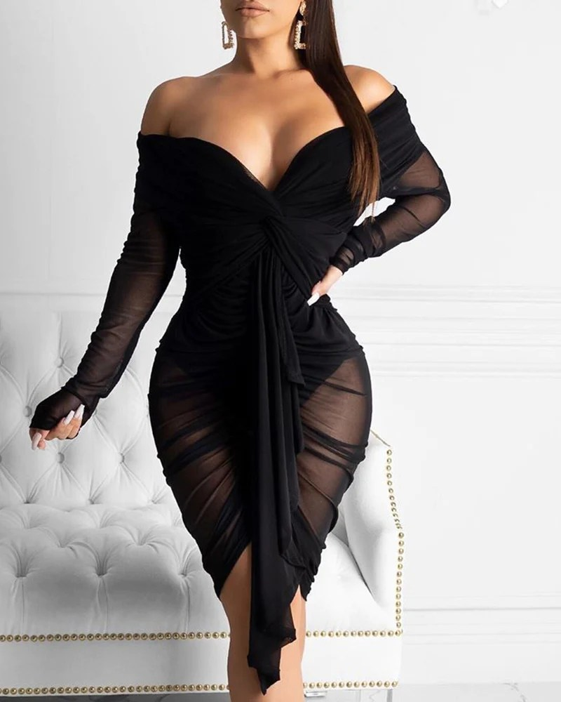 Off Shoulder Ruched Drape Bodycon Dress 1