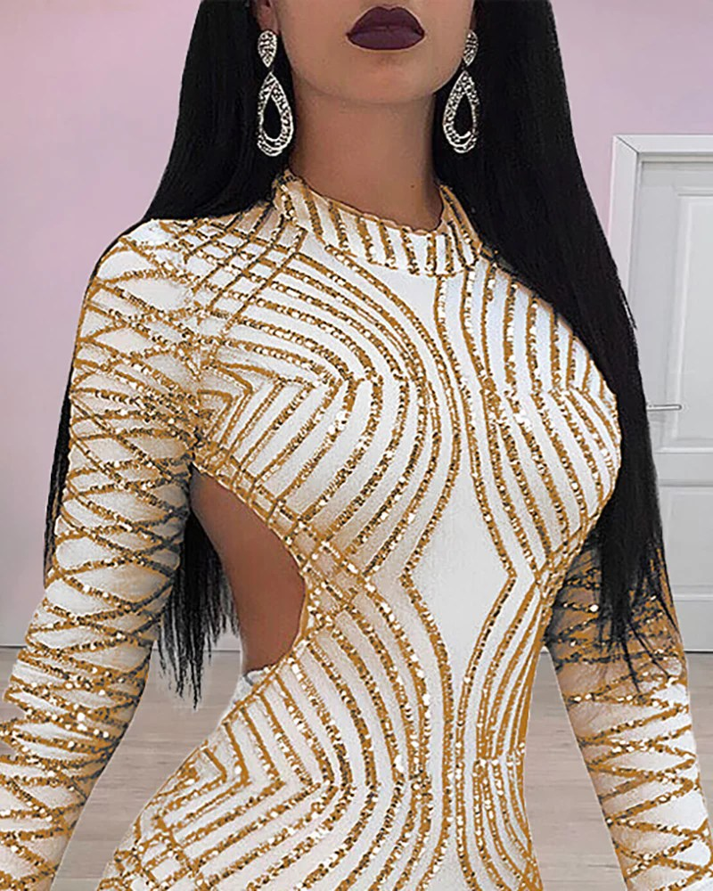 Glitter Backless Long Sleeve Sequins Bodycon Dress