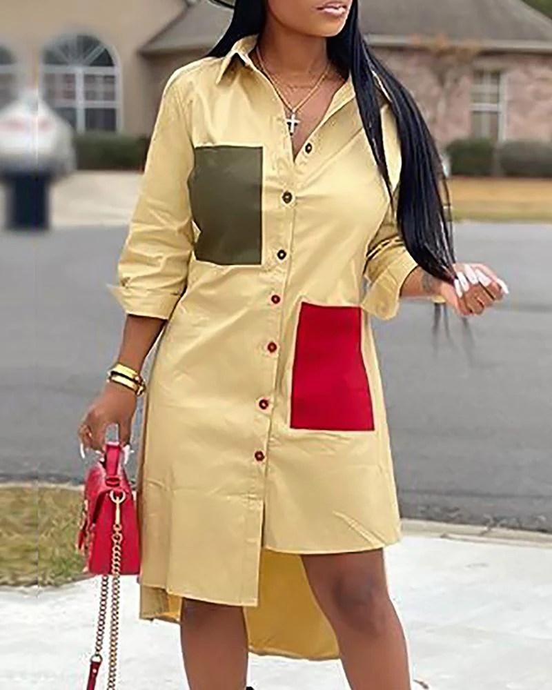 Colorblock Irregular Hem Shirt Dress 2
